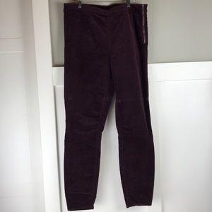 Gap EUC velvety burgundy side zip leggings